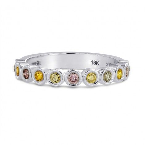 11 stone multicolored diamond stackable bezel band ring mounted in 18K white gold. All the diamonds are of natural color and form part of the Lilies collection that includes additional multicolored rings styles and a matching bracelet. For more information about this item please contact our customer service department.