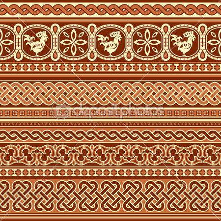 славянский орнамент бесшовные — Векторная картинка #50279507