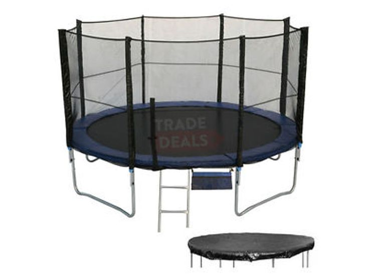 Details about 6 8 10 12 14 16 FT Foot XL Large Trampoline Safety Net Enclosure, Cover Ladder