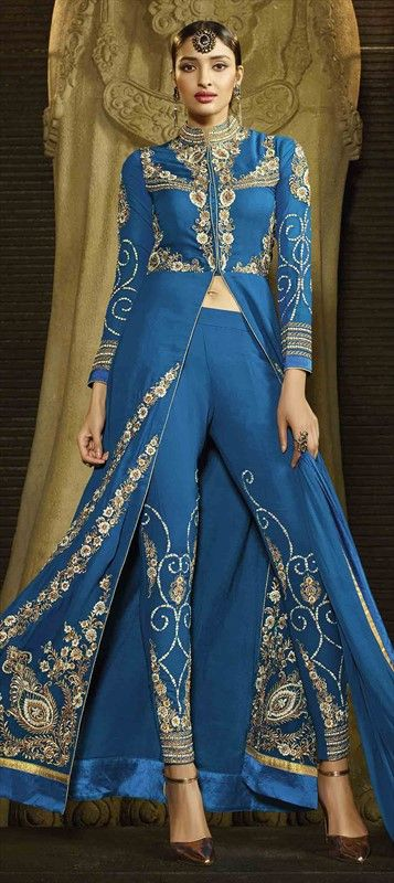 Stylish High-slit Salwar Kameez by IWS 465161 Blue  color family Party Wear Salwar Kameez in Faux Georgette fabric with Lace,Machine Embroidery,Stone,Thread work . #salwarKameez #Salwarsuit #Eid2016 #mehndi #Engagement #DesignerSuit #Suit #ethnic #IndianWear