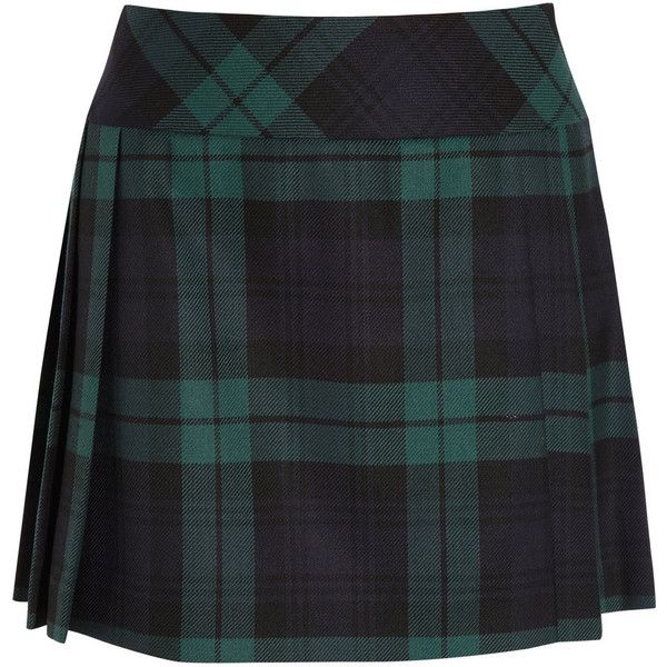 Moschino Plaid wool-twill kilt found on Polyvore