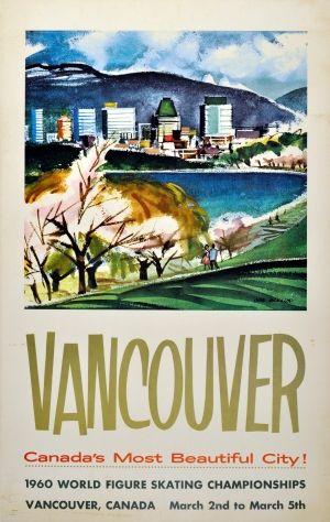 Vancouver Canada 1960 Figure Skating - original vintage poster by John Mackillop listed on AntikBar.co.uk