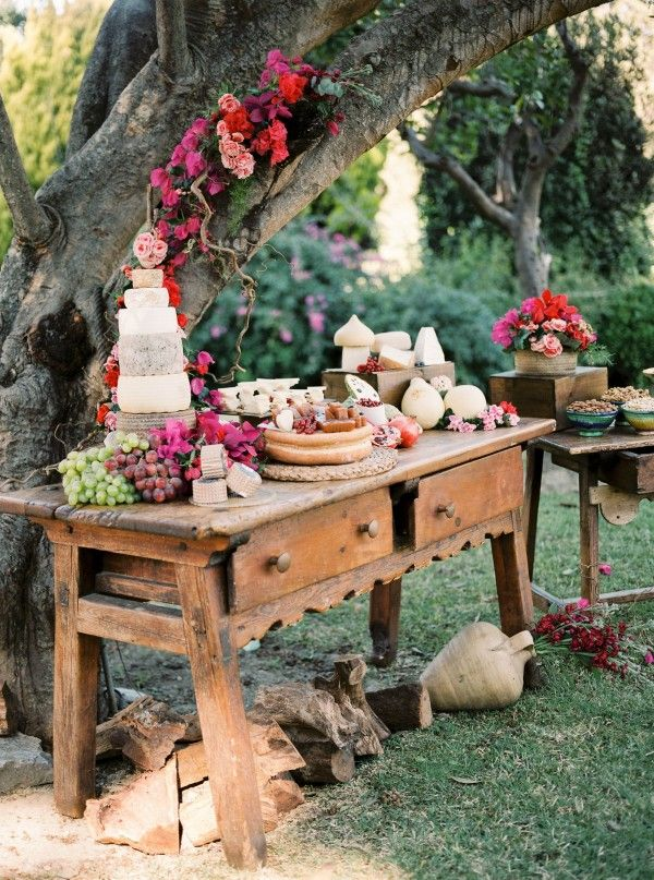 Delicious cheese and fruit table