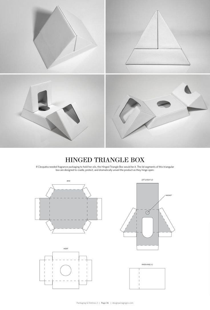 Hinged Triangle Box – structural packaging design dielines