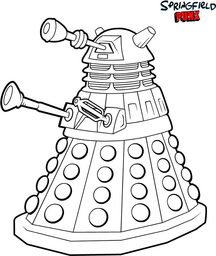 Easy Dalek Colouring Page
