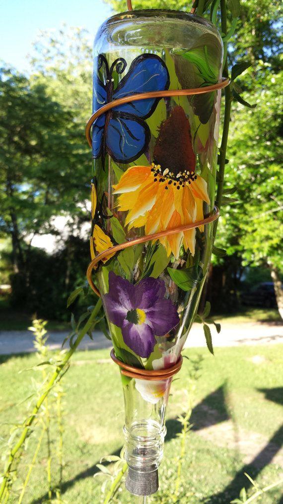 Mariposa diseño Colibrí alimentador, cobre alambre alimentador del pájaro, alimentador de Colibrí pintado, diseño de mariposa de comedero para pájaros de cristal a mano