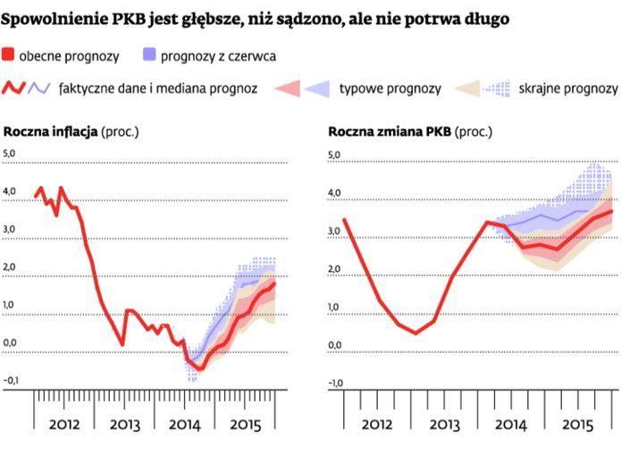 Gospodarka przyhamowała, ale w przyszłym roku będzie odzyskiwać wigor – oceniają analitycy. Ich zdaniem w najbliższym czasie w Polsce nie będzie inflacji. Ceny zaczną powoli rosnąć dopiero na początku 2015 r.