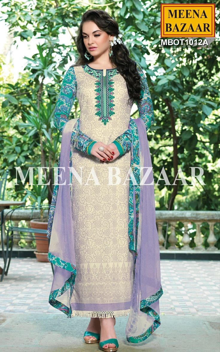 Cream Lawn Cotton Salwar Kameez Jet from day to night with this Cream Lawn Cotton Salwar Kameez. Made from cotton, it has green and black patch work on neck and light blue prints all over. The full sleeves has beautiful prints with white lace at hem which is perfect for daily wear. Comes with matching chiffon dupatta and bottom. http://www.meenabazaar.com/cream-lawn-cotton-salwar-kameez-4315.html