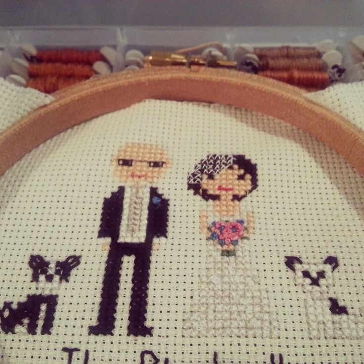 Cross stitch weddings and dogs! Love this family portrait combo!