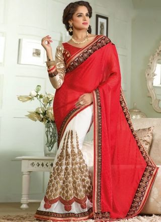 Hot Red And White Party Wear Half N Half Saree\ http://www.angelnx.com/Sarees