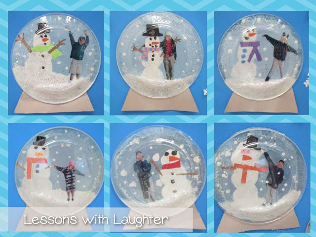 Snow Globes!  using clear plates and photos