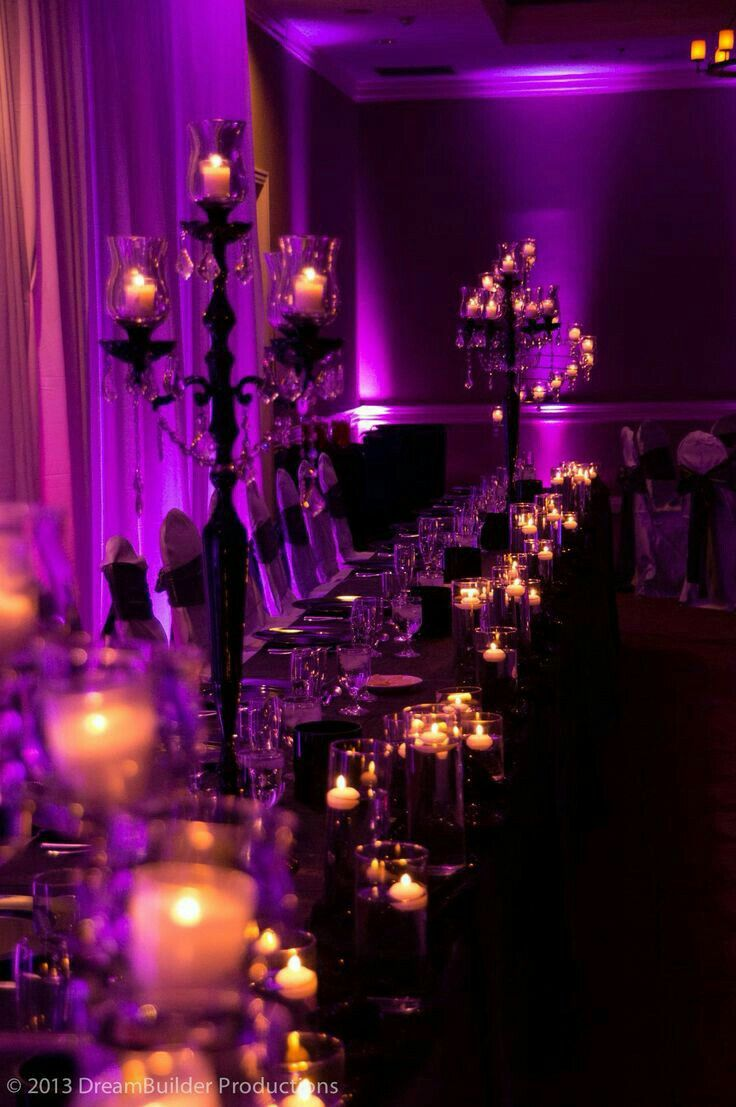 A very classy Halloween Wedding. I adore the purple lighting.