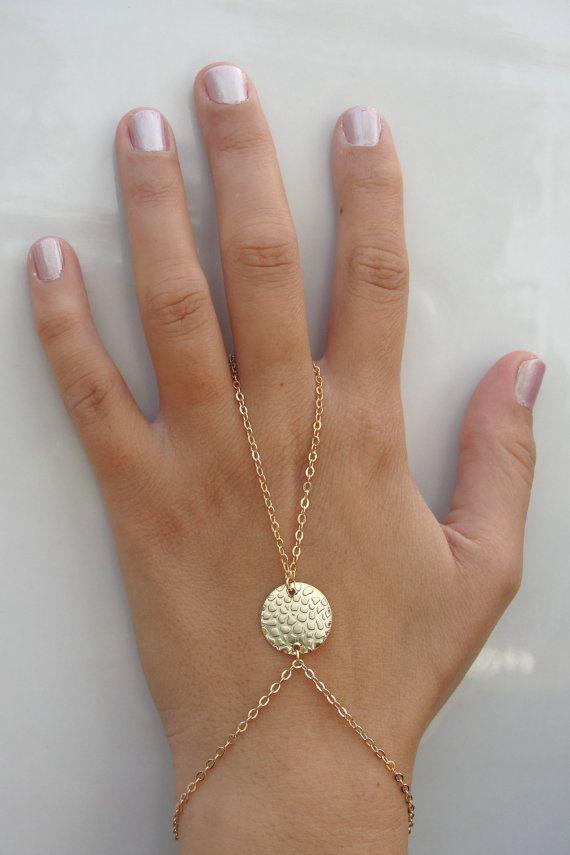 Gold Slave Bracelet, ring connected to bracelet, Hand disc Bracelet, Harem bracelet, Belly Dancers Bracelet, Finger Bracelet