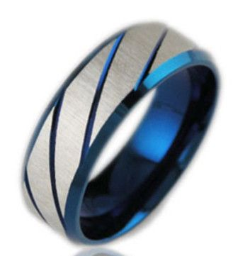 $30 Zephyr Blue-Mens Ring | Cool Breeze Titanium Stainless Steel Wedding Band Or Men's Fashion www.manbands.co #manbands