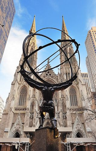 Statue of Atlas, Rockefeller Plaza facing Fifth Avenue & St. Patrick's Cathedral, New York.