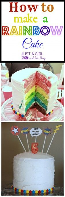 Making a rainbow cake is easier than you think with this simple process! | Just a Girl and Her Blog