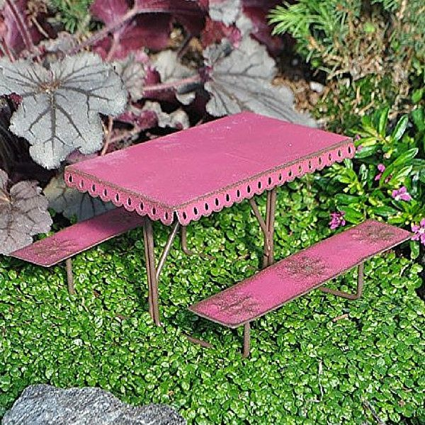 Metal Picnic Table.  www.teeliesfairygarden.com . . . Aside from playing, fairies love to have picnics too! This Metal Picnic Table is a perfect spot for their picnic and snack time. #fairytable
