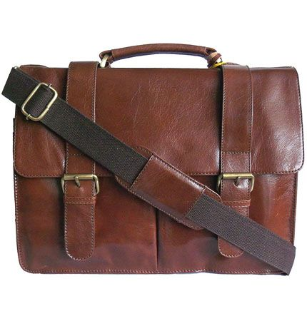 Woodland Leather Retro Tan Leather Messenger Briefcase