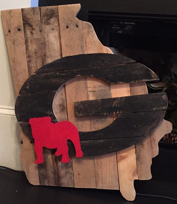 Large State of Georgia Pallet Wood Sign with Black G and Red Bulldog