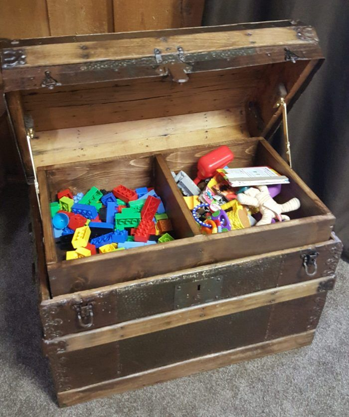 Diy Toy Box Treasure Chest From Antique Steamer Trunk Diy Toy Box Toy Boxes Antique Steamer Trunk