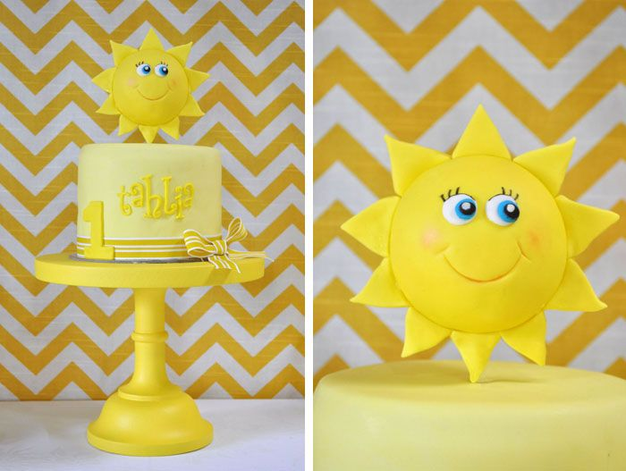 First Birthday Cake; You are my Sunshine theme - topper like this, maybe with blue iced cake for the sky