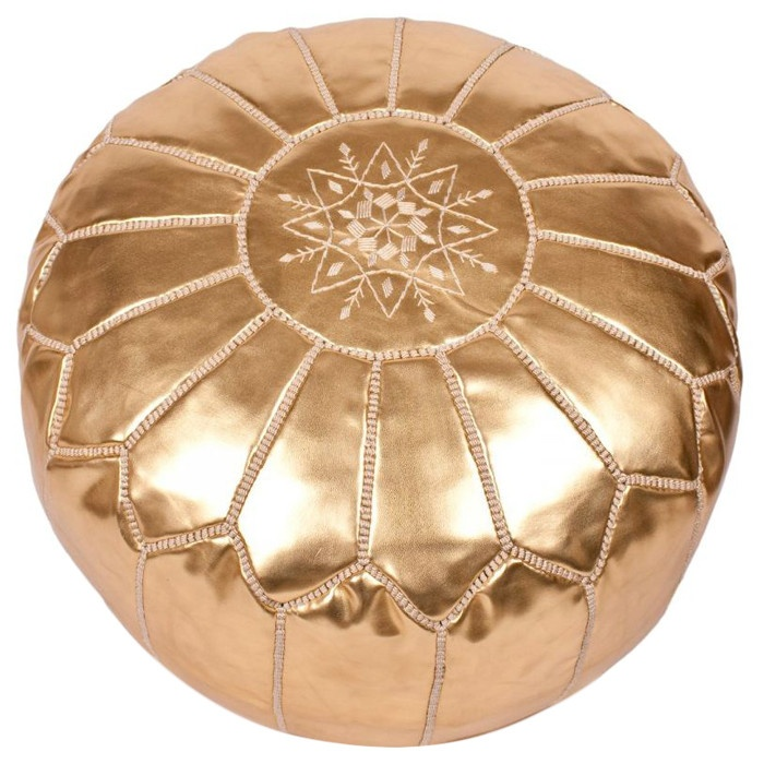 Gold Leather Ottoman