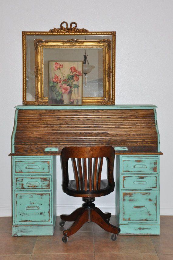 Pale Blue Distressed Vintage Roll Desk Top on Etsy, $889.59 CAD