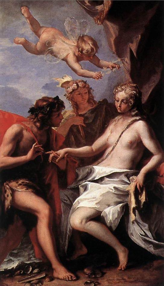 < 바쿠스와 아리아드네 >, 세바스티노 리치, 1713. 낙소스 섬에 남겨진 아리아드네를 보고 반한 바쿠스가 청혼하는 모습이다. 바쿠스는 술, 취기, 열광의 신인데 조심스럽게 아리아드네에 다가가 애원하는 얼굴로 반지를 끼워주는 모습이 재미있다. 바쿠스도 저런 멜로적 감성을 가진 남자였구나, 하며 달리보게 되는 작품이었다. 아리아드네의 저 새침떼는 표정이란...^^
