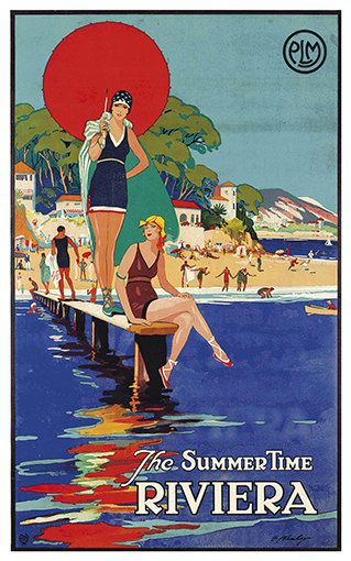 Free Shipping  The Summer Time Riviera    Vintage by WallArty