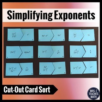 Simplifying Exponents Puzzle - fun interactive notebook activity for introducing exponents