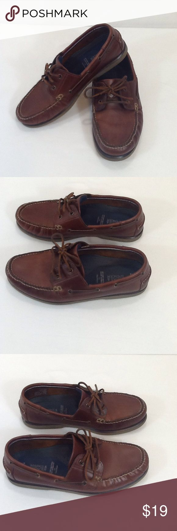 Marks and Spencer men's boat shoes Very good pre-owned condition. English boat shoes - Euro size 43, British men's size 9. Spice brown color genuine leather upper.  Durable rubber sole and heel show no signs of wear. Marks and Spencer Shoes Boat Shoes