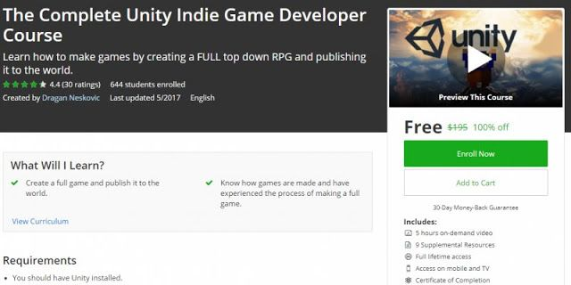 [100% Off] The Complete Unity Indie Game Developer Course | Worth 195$