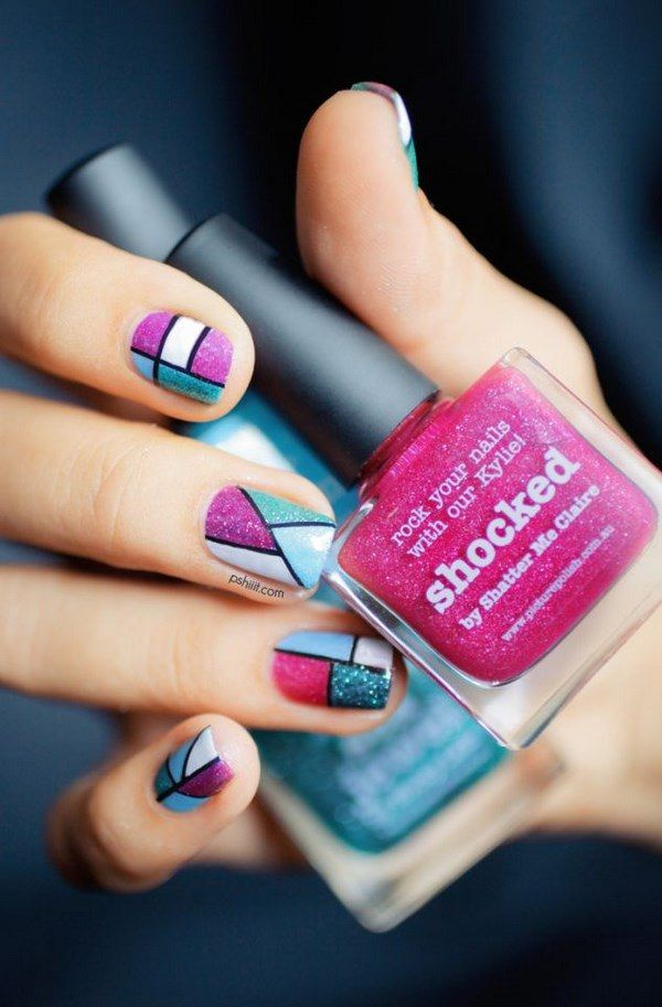 Nails with colors and beautiful shapes - Hermosas uñas con formas geometricas y…