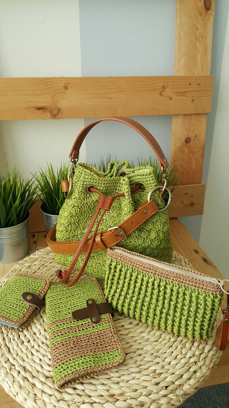 Crochet bucket bag and pouch and wallet