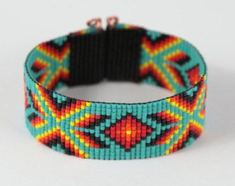 North Valley Bead Loom Cuff Bracelet Native by PuebloAndCo on Etsy