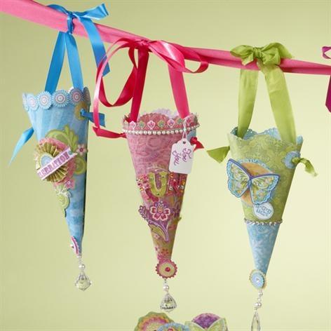 Girl garden party, paper cone favors