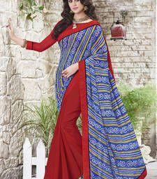 Buy Royal blue printed georgette saree with blouse bandhani-sarees-bandhej online