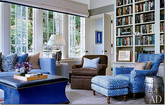 The family room features a Lee Jofa Print and more Hickory Chair – the sofa and ottoman.