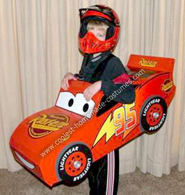 Homemade Lightning McQueen Race Car Costume: Our son wanted to be Lightning McQueen this Halloween so we pulled out his toy cars and coloring book for ideas on the look and shape. I drew a pattern