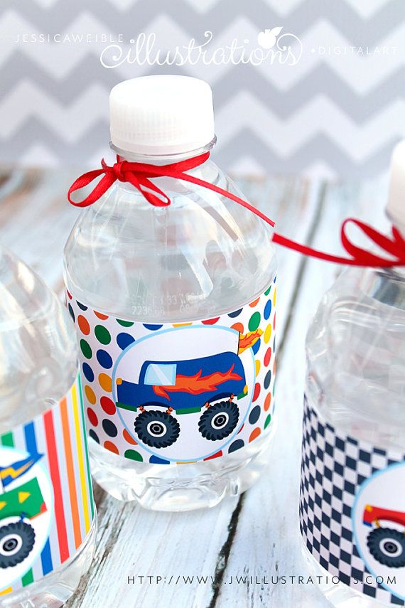 Monster Trucks Matching Printable Party Water Bottle Labels, Cute Monster Truck Party Printables, Monster Truck Party