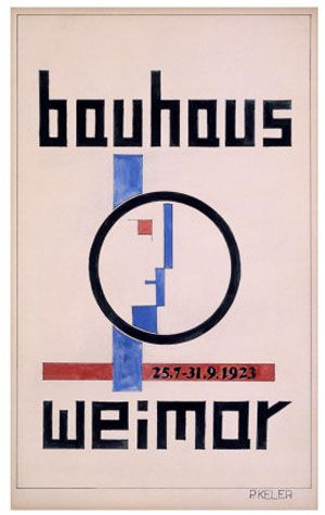 Bauhaus Weimar poster by Peter Keler, face designed as part of the Bauhaus seal by Oskar Schlemmer