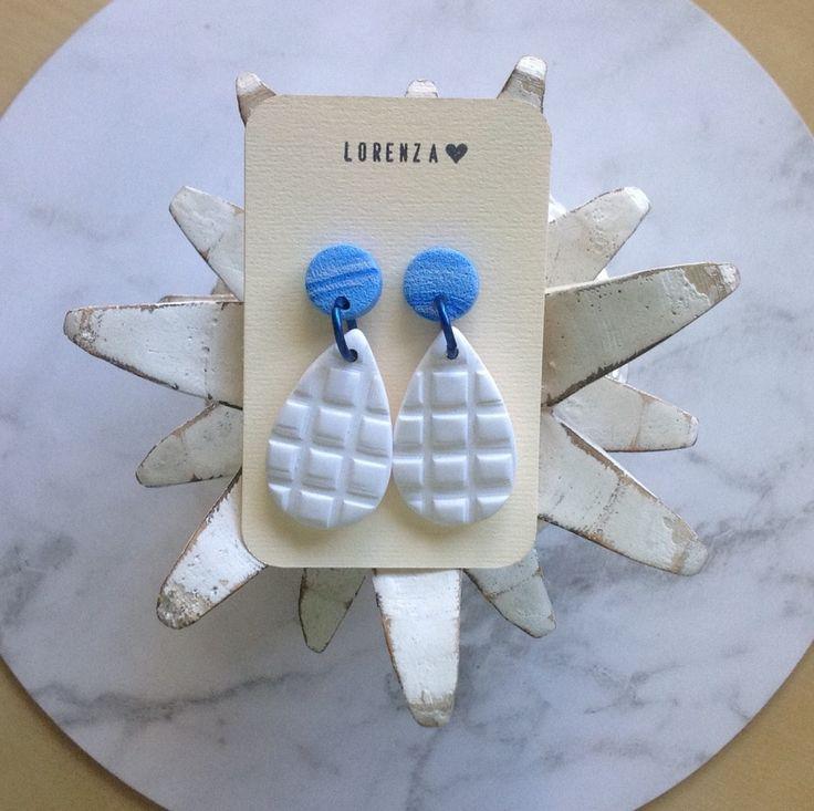 Earrings-Dangles large teardrop-white/blue | Relove SA