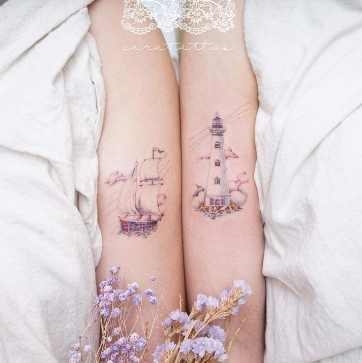 Nautical themed best friend tattoos by Cara #tattoosforwomen –  – #smalltattoos