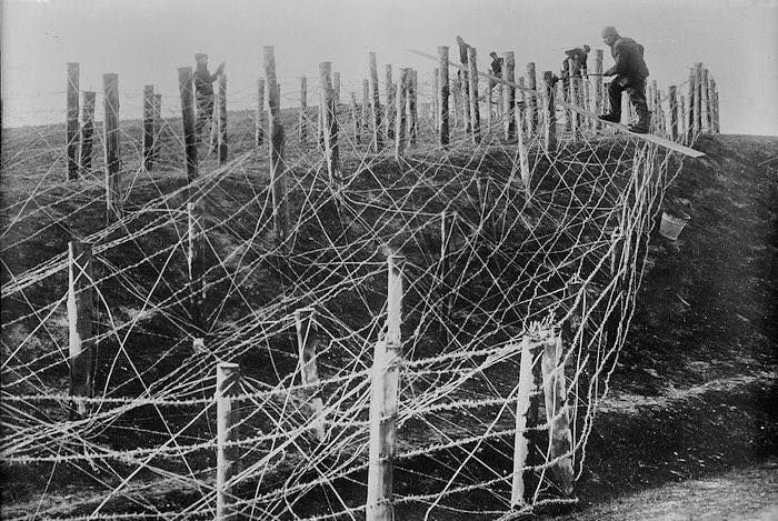 Barbed Wire  With the trench warfare in full swing denying enemy troops any ground was of great importance. Hence, barbed wire was used in front of trenches to effectively slow down movement, thus creating more vulnerability. Since removing the wire was vital to enter the trench, soldiers were sitting ducks for any machine gunner. In some locations the defenders had purposely destroyed or created a gap in the wire to lure the enemy into thinking it was easy to get past the defense. Those…