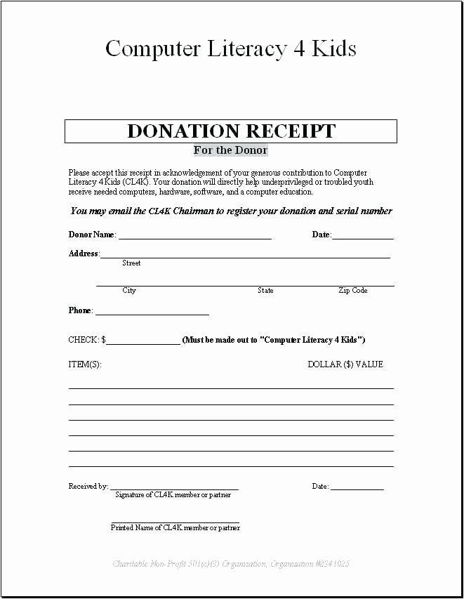 Charitable Donation Form Template Beautiful Charitable Contribution Receipt Letter Donation T Gift Certificate Template Word Receipt Template Computer Literacy