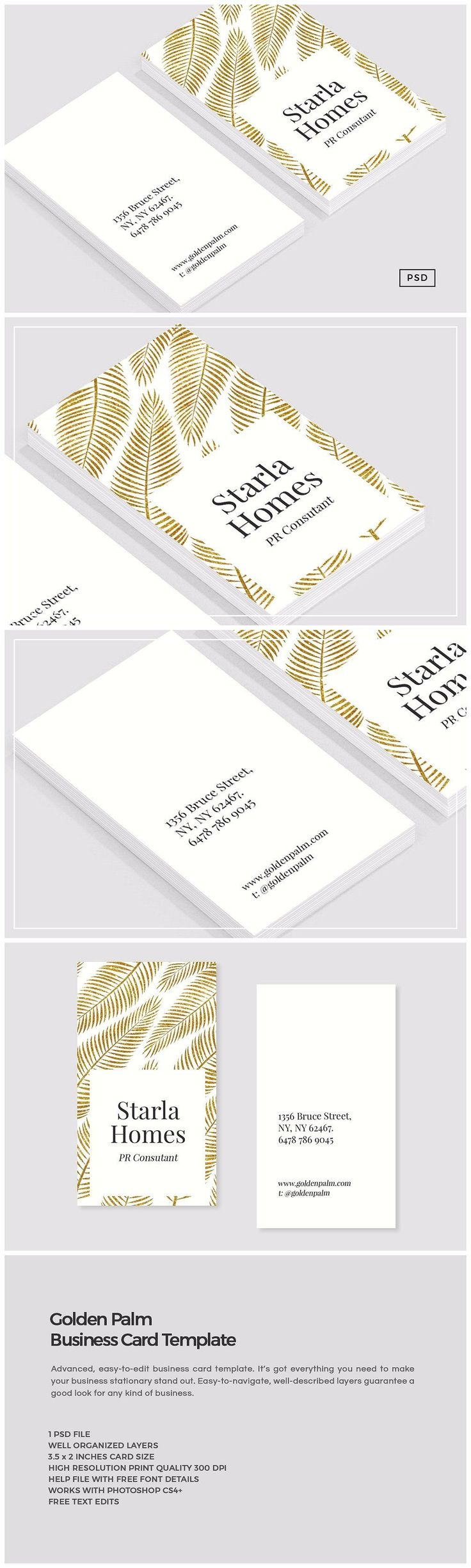 9311 best unique business card design images on pinterest golden palm business card template by the design label on creativemarket magicingreecefo Images