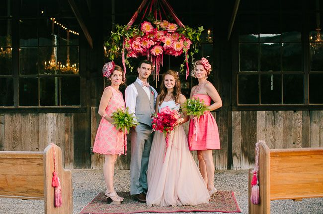 coral and rose gold inspiration, how fun and different are these bridesmaids bouquets!