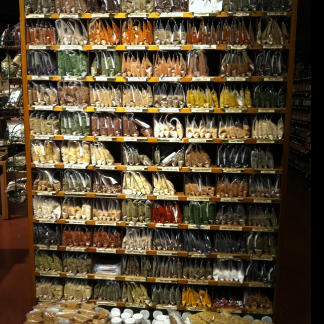 wall of spices in the fresh market.  Love this and don't have to buy a huge container