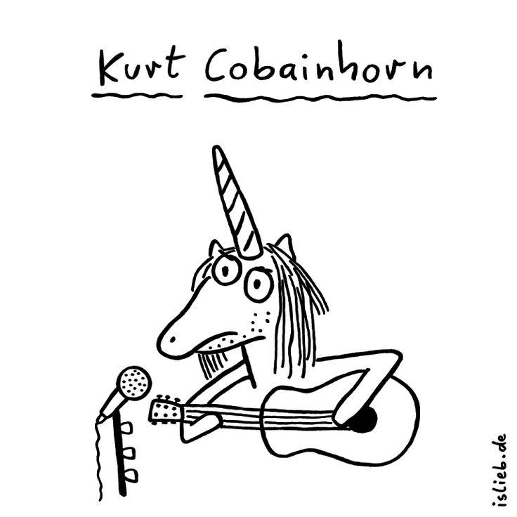 Kurt Cobainhorn | Nirvana-Cartoon | is lieb? | Einhorn, Gitarre, Kurt Cobain, Nirvana, Grunge, Musiker