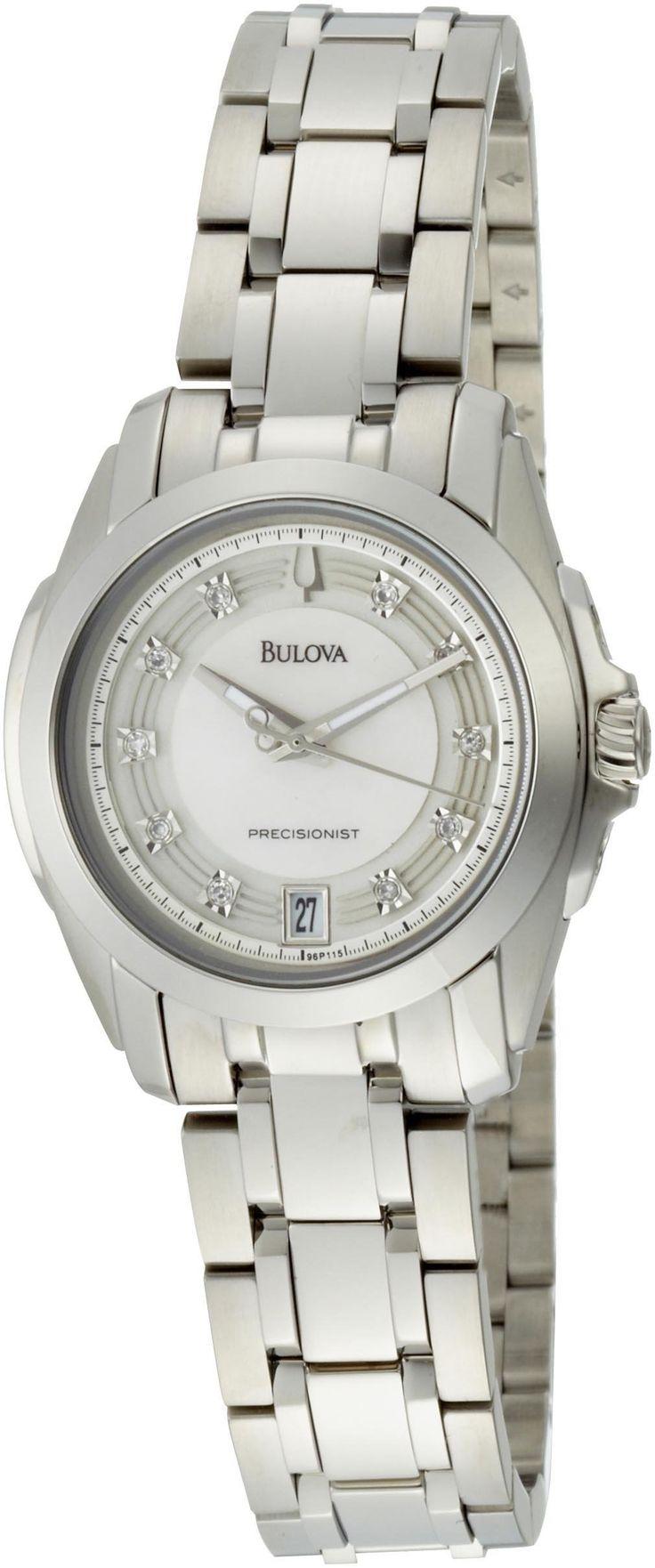 Amazon.com: Bulova Women's 96P115 Precisionist Longwood Diamond MOP Dial Steel Bracelet Watch: Bulova: Clothing